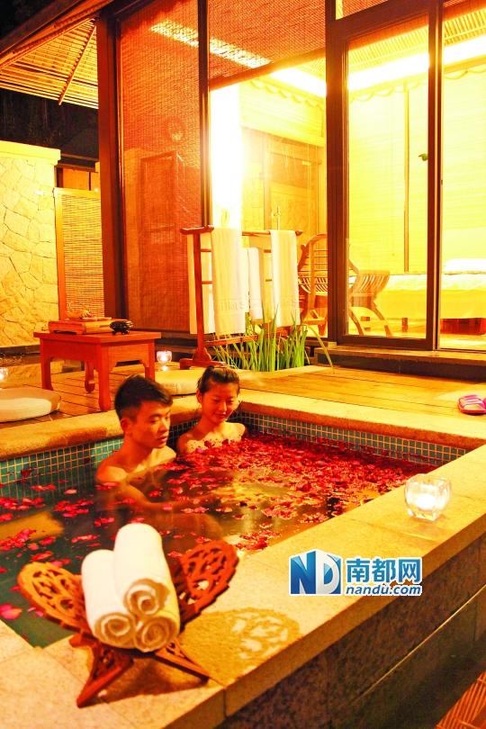 地派温泉的私家泡池。 资料图片