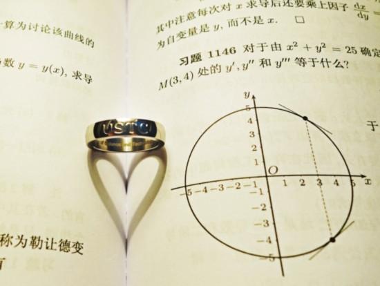 """戒指正面刻有""""USTC""""科大校名英文缩写。图片由学校提供"""