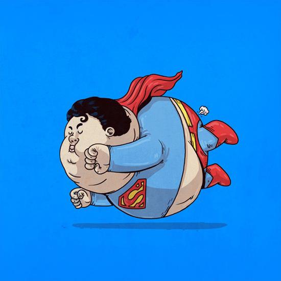 美国画家恶搞经典卡通人物大肚照 讽刺肥胖问题