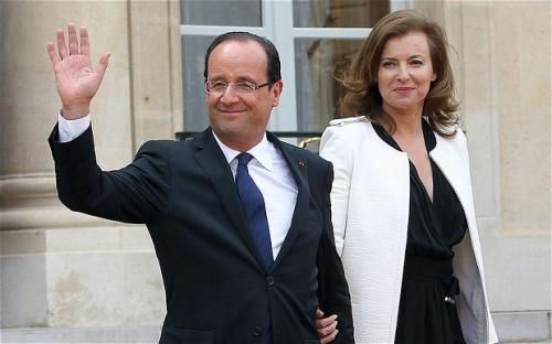法国总统奥朗德与瓦莱丽(资料图)