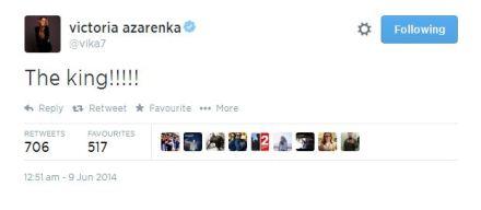 阿扎伦卡推特截屏