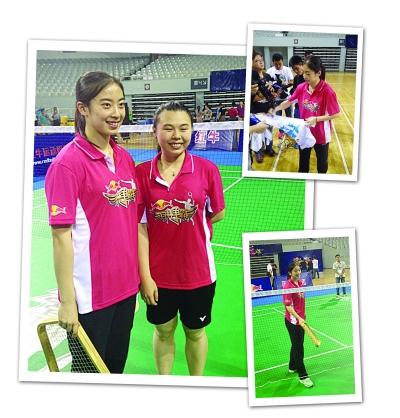 王适娴(左)和夺冠队员合影。