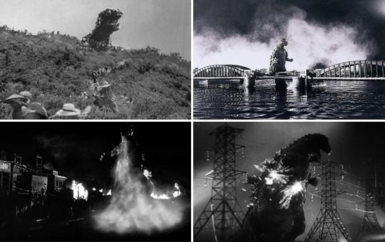 被核试验唤醒的哥斯拉开始袭击城市,电网和枪炮不能伤其分毫