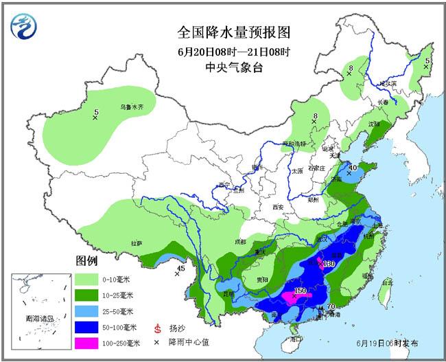 19~20日,华北、黄淮等地自西向东有一次降水过程,部分地区有中到大雨,其中,华北南部、黄淮北部等地有暴雨或大暴雨(100~130毫米),并伴有雷暴大风或冰雹等强对流天气。