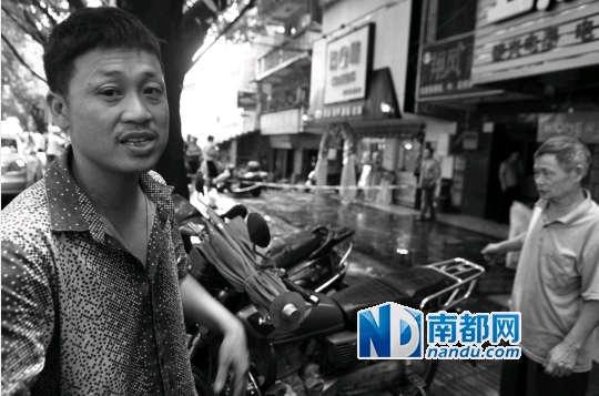 昨天,在惠州市河南岸翔凤家具批发总汇店门口,69岁老人倒地身亡,目击者介绍当时看到的情况。南都记者 田飞 摄