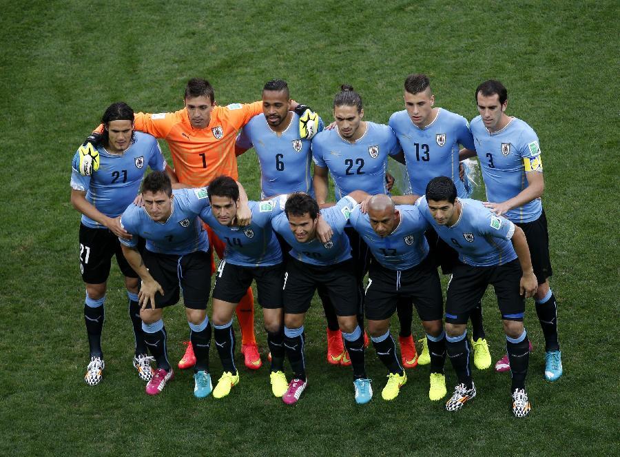 (世界杯)(2)足球--小组赛D组:乌拉圭队首发阵容