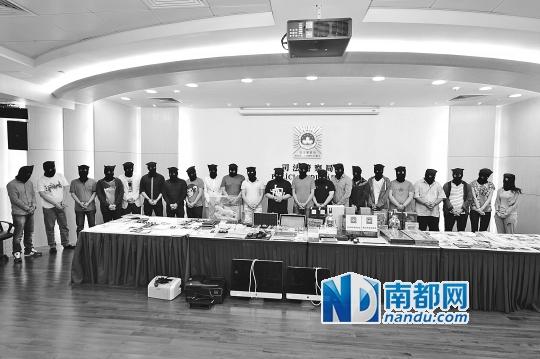 澳门警方拘捕22名涉嫌外围赌球人士。南都记者 蒋生 摄