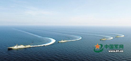在此期间,在西太平洋上,由北海舰队绵阳舰,葫芦岛舰和洪泽湖舰组成的
