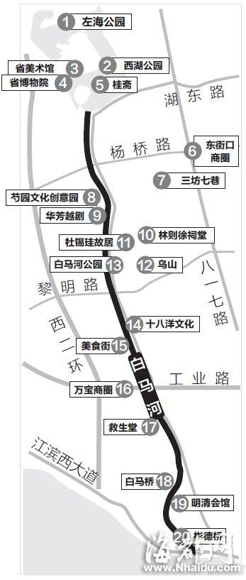 西湖白马河航道沿途景点 郑蒙/制图