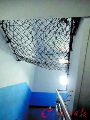 学校宿舍楼的楼梯处安装了防坠网。