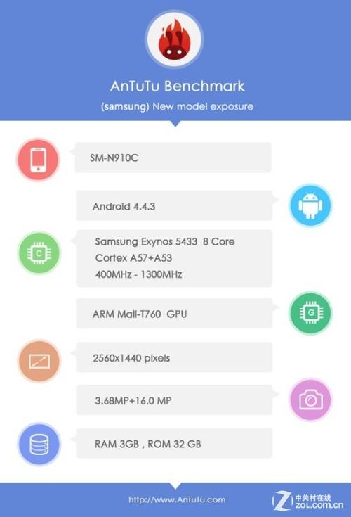 除处理器之外,三星GALAXY Note 4也将搭配QHD 2640x9600分辨率屏幕,屏幕尺寸5.7英寸。