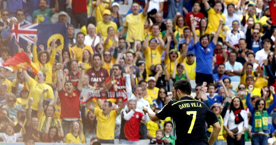 新华社照片,库里蒂巴(巴西),2014年6月23日 (世界杯·进球时刻)(1)足球—小组赛B组:比利亚进球