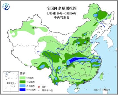 中新网6月24日电据中央气象台消息,南方强降雨经历了短暂的喘息后,今天夜间起又将开始发起进攻。不过,强降雨带将发生明显的位置变化,移师至江南中北部至江淮一带。