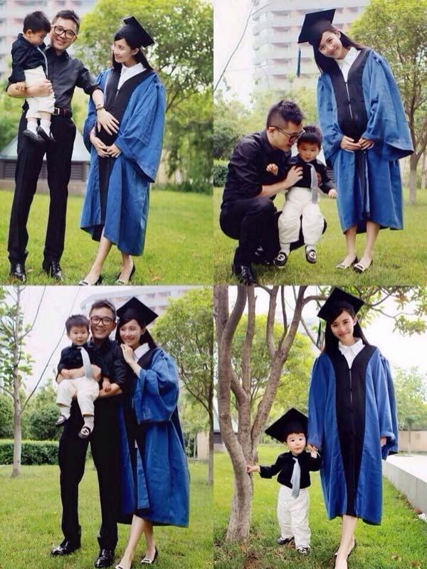 美女硕士抱儿子怀女儿拍毕业照 网友:人生赢家