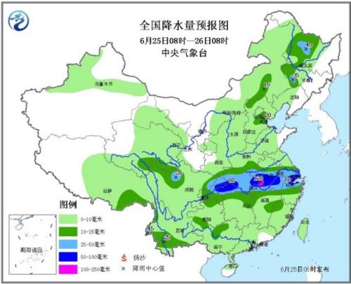 中国长江中下游地区有大到暴雨 东北华北多雷阵雨