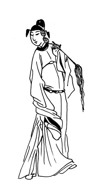 现代美女手绘大长裙