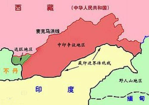 中国和印度边界地图