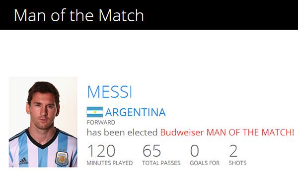 梅西连续第四场当选最佳球员
