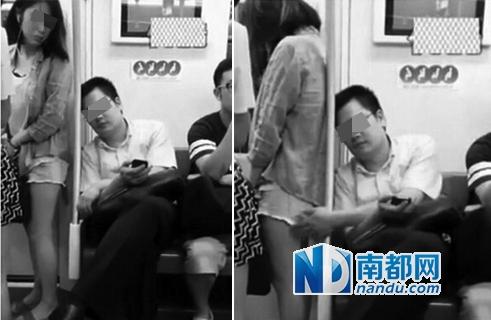 有乘客拍到男子第二次伸手触摸女乘客大腿。视频截图