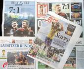 高清:各家媒体均头版头条 报道德国与巴西之战
