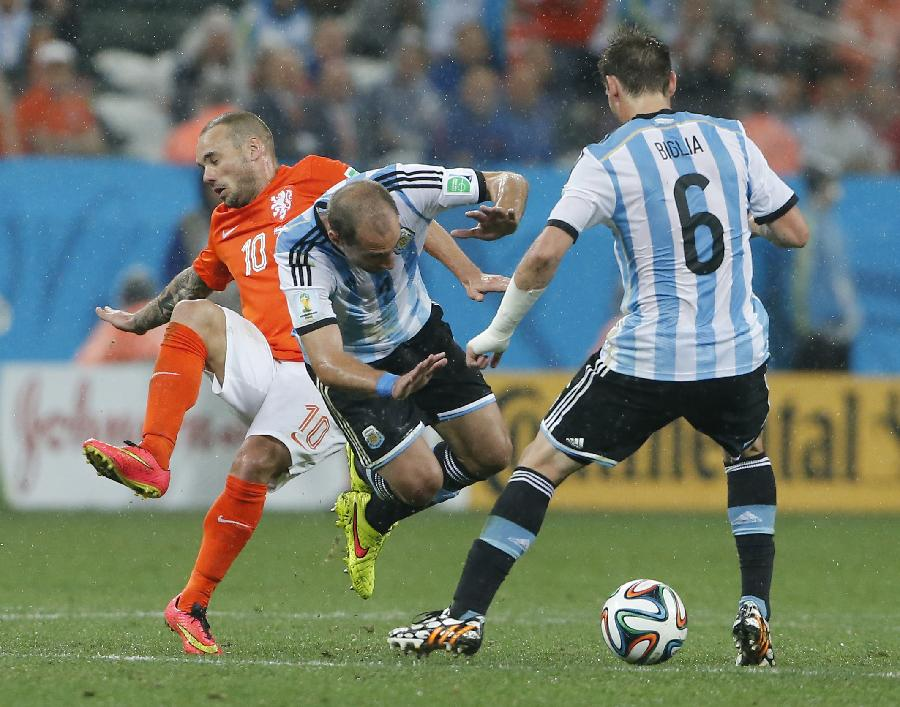 新华社照片,圣保罗(巴西),2014年7月9日 (世界杯)(156)足球—半决赛:荷兰队对阵阿根廷队