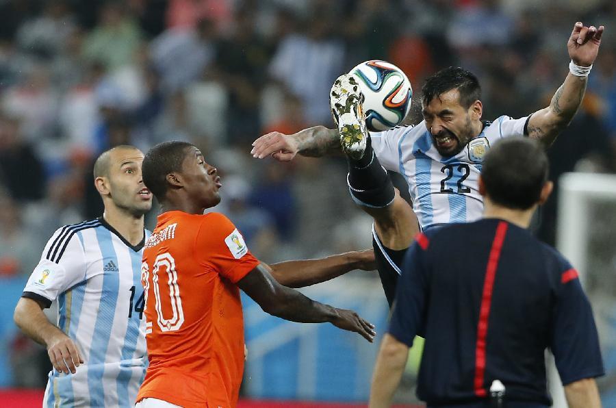 新华社照片,圣保罗(巴西),2014年7月9日 (世界杯)(154)足球—半决赛:荷兰队对阵阿根廷队