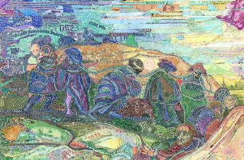 图为王尔德的拼贴画《他们不知道路》。幼年时的王尔德常常去欧洲看望亲戚,也借机多次游历欧洲多国,回程时经常还揣着到过的国家的货币。
