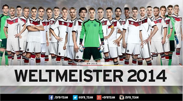 德国足协官网第一时间祝贺本队夺得世界杯冠军