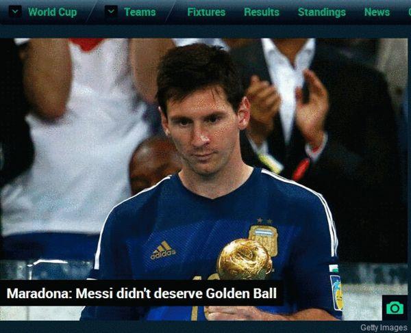 马拉多纳认为梅西不配获得金球