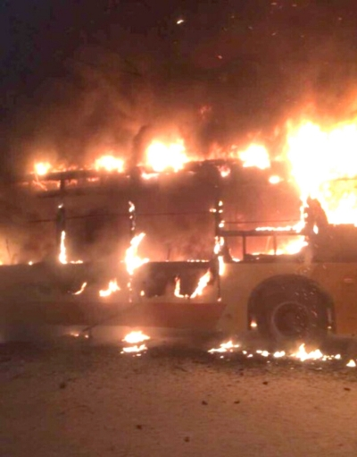 广州一公交车起火2死多伤