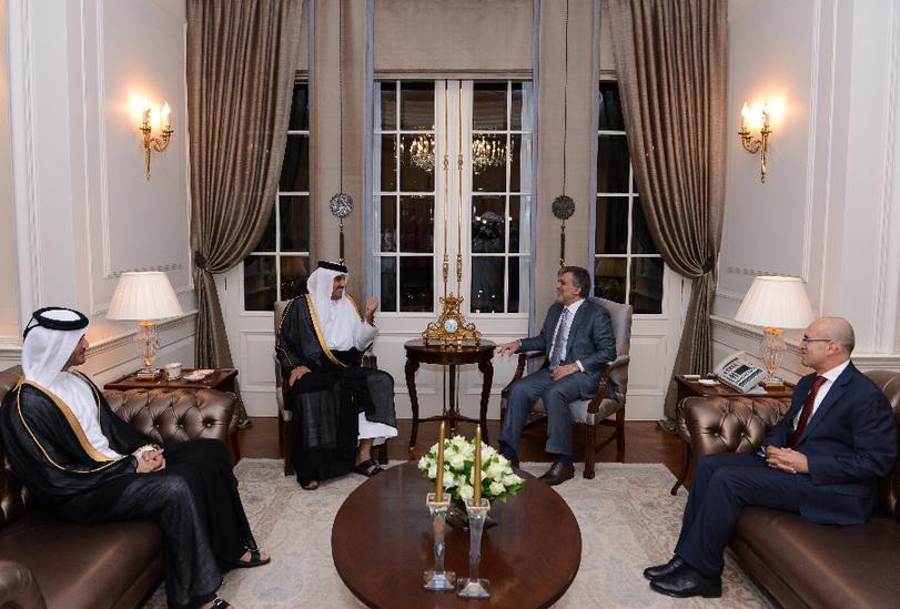 土耳其总统居尔会见来访的卡塔尔埃米尔谢赫塔米姆·本·哈马德·阿勒萨尼(图片由土耳其总统府提供)