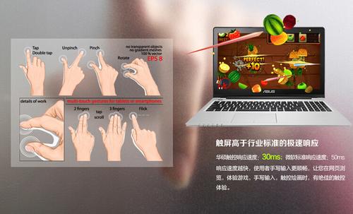 预装Win8系统,采用触控屏幕
