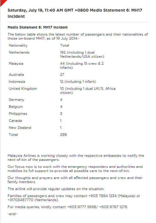 马航在其官网发布第6份声明