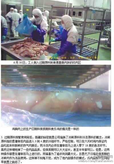 工人将过期原料倒入肯德基烟熏肉饼的绞肉区。
