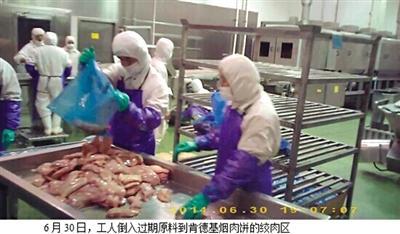 6月30日,工人将过期原料倒入肯德基烟熏肉饼的铰肉区。视频截图