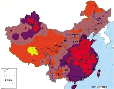 全国最高气温预报图 7月21日08时~22日08时 中央气象台 南海诸岛 36℃~40℃ 郑州