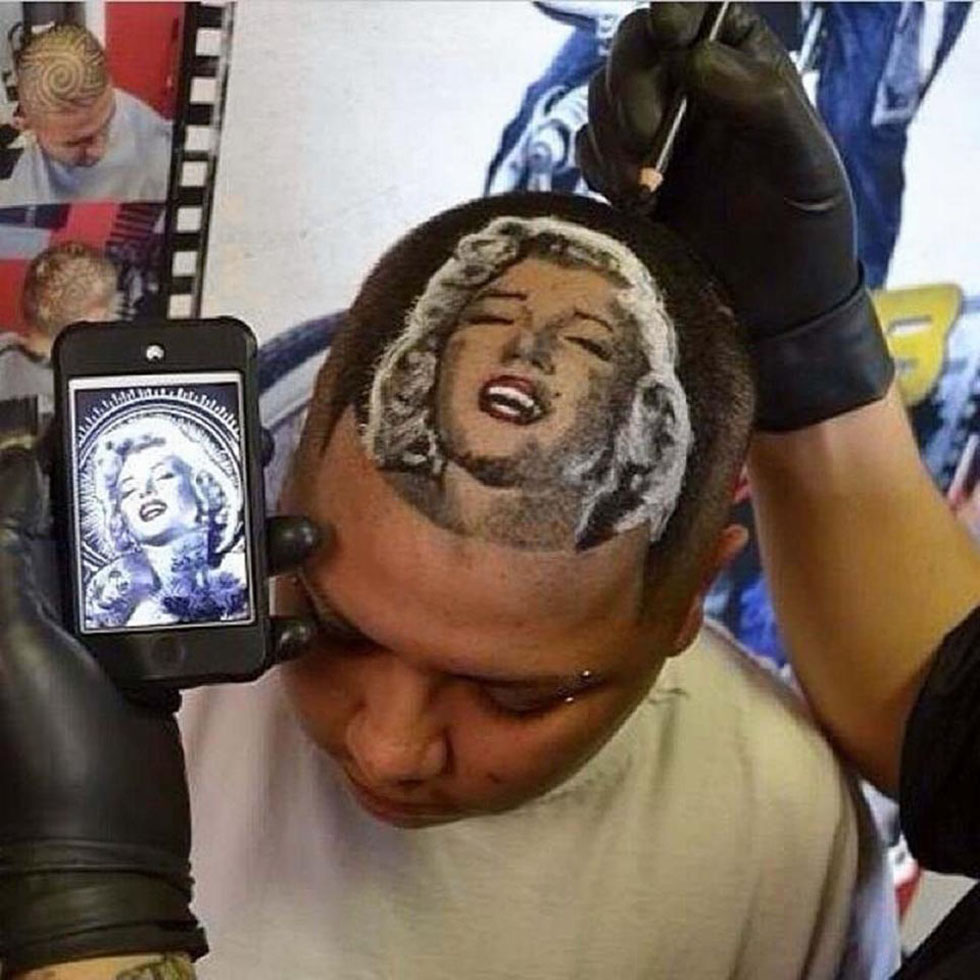 美国理发师在顾客头上剃名人头像广受欢迎(高清组图)