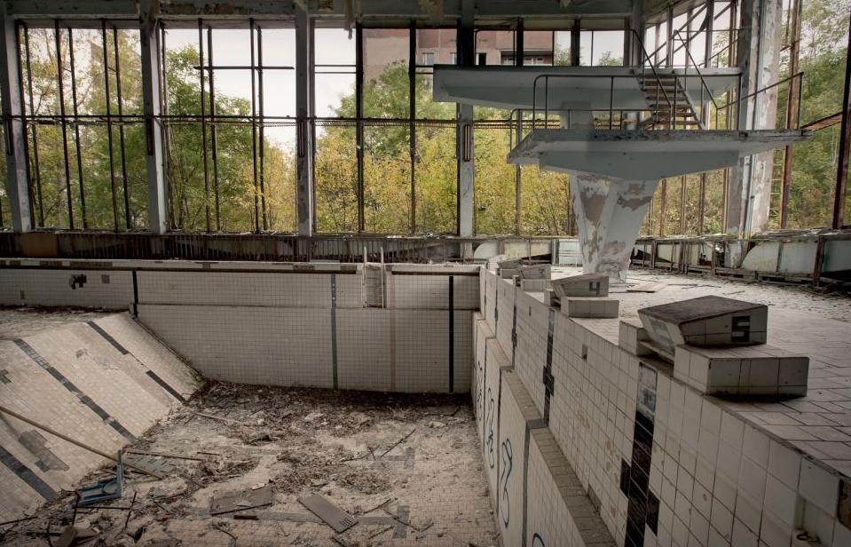 1986年切尔诺贝利灾难发生后,废墟位于被废弃的体育