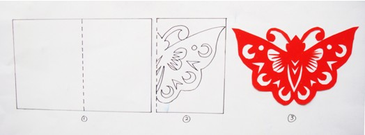 对蝴蝶剪纸图片
