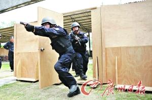特警部队正在进行突击攻坚战术训练。