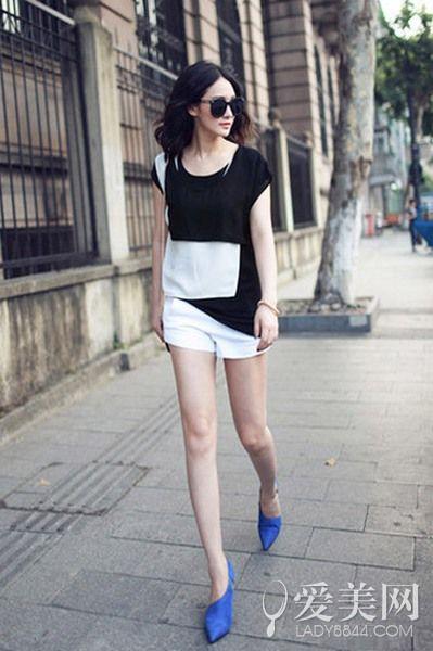 阔口短裤 + 尖头高跟鞋>>>>>>look1
