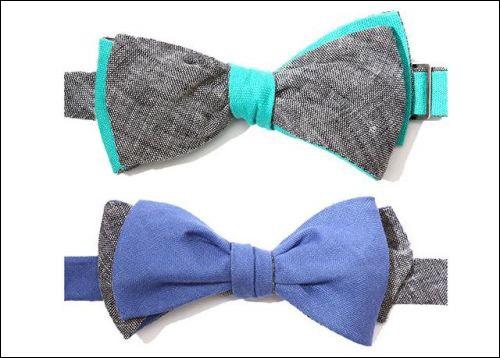 灰色与天空蓝可互换双色领结、深蓝色与灰色可互换双色领结