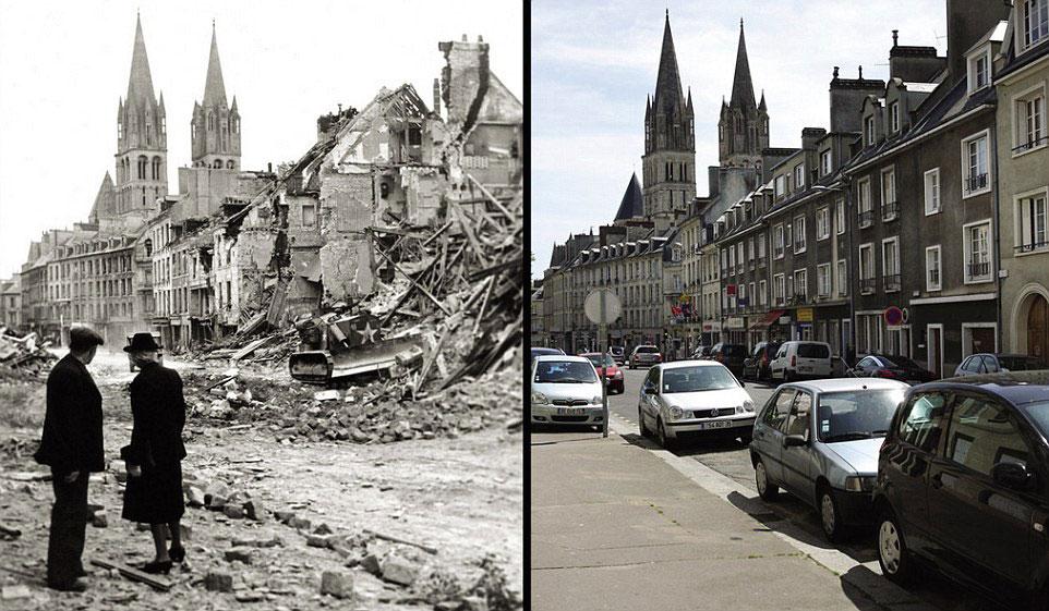 旧照�_战争与和平:诺曼底登陆地旧照与现照对比(高清组图)
