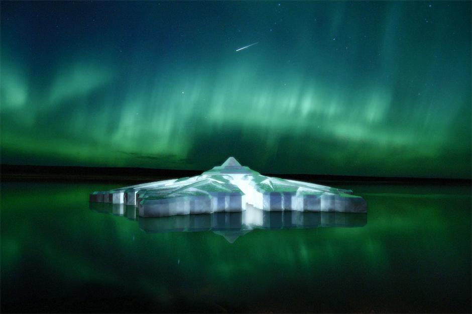 """中新网8月1日电据外媒报道,荷兰一家公司准备在挪威位于北极圈内的城市特罗姆瑟开发建设一家""""水晶酒店"""",整体外观像一片美丽的雪花,将成为旅客观看极光的好去处。"""
