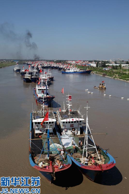 8月3日,在江苏省连云港市赣榆区青口渔港,渔船出海捕捞作业.