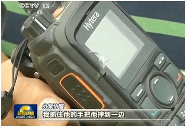 央视报道海能达对讲机关键时刻挡住暴徒尖刀