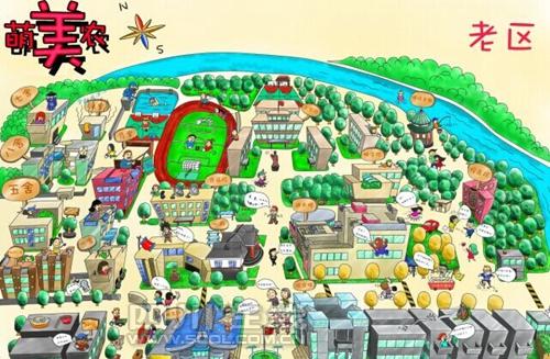 """川农""""壮汉""""学长手绘萌版校园地图 卡通人物带你""""逛""""校园"""