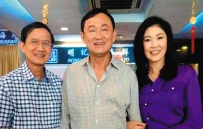 他信的女儿在社交媒体上发布了一张英拉与两位泰国前总理―他信和颂猜的照片。