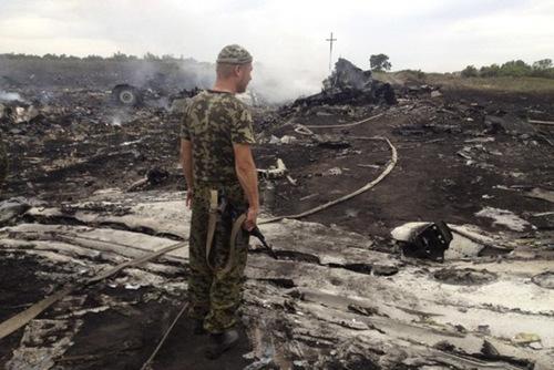 一名民间武装人员站在马航MH17客机坠毁现场