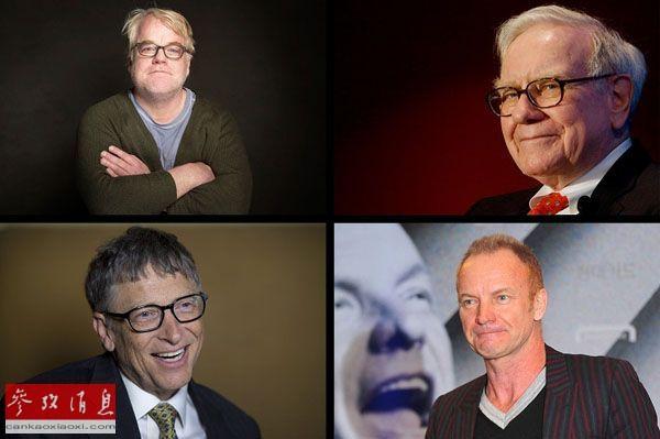 由左上顺时针方向依次为已故演员菲利普・西摩・霍夫曼、投资家沃伦・巴菲特、摇滚歌手斯汀和微软公司创始人比尔・盖茨。